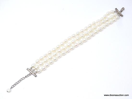 .925 TRIPLE STRAND PEARL BRACELET; GORGEOUS .925 STERLING AND PEARL TRIPLE STRAND BRACELET. THIS