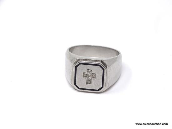 STAINLESS STEEL AND 6 DIAMOND CROSS RING .20 TW; GORGEOUS MEN'S STAINLESS STEEL AND DIAMOND RING.