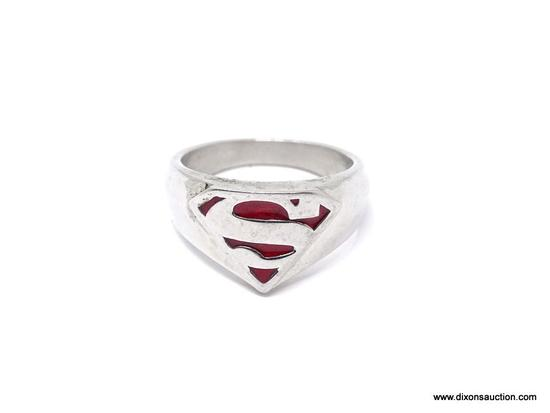 SUPERMAN MEN'S STAINLESS STEEL RING; HUGE MEN'S SUPERMAN STAINLESS STEEL RING MADE BY JCM. SIZE 12