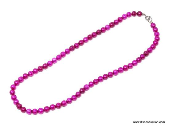 .925 PINK DYED PEARL NECKLACE; BEAUTIFUL PINK DYED NATURAL PEARL NECKLACE WITH .925 STERLING SILVER