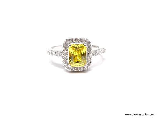 .925 STERLING BEAUTIFUL WHITE AND YELLOW CZ'S; BEAUTIFUL STERLING SILVER DINNER RING WITH WHITE AND