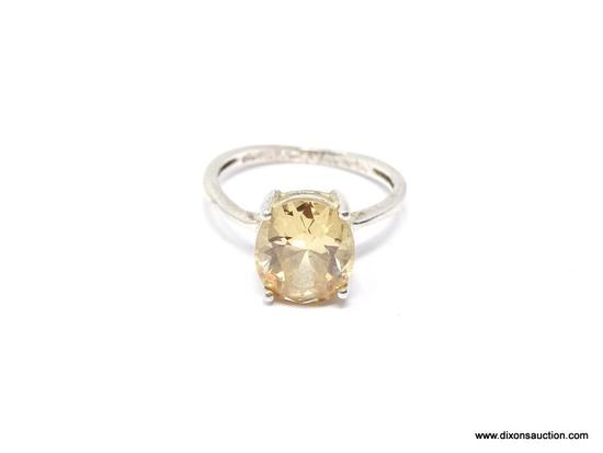.925 STERLING 5 CARAT CITRINE RING; GREAT VINTAGE STERLING SILVER HIGH SET RING WITH BEAUTIFUL 5+