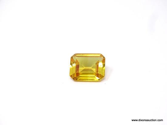 RARE 10.4 CARAT PUKHRAJ SAPPHIRE RICH TRANSPARENT YELLOW; ABSOLUTELY STUNNING 10.4 EMERALD CUT