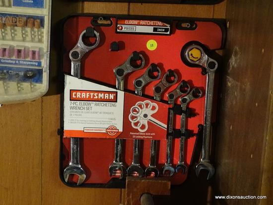 ELBOW RATCHETING WRENCH SET; CRAFTSMAN ELBOW RATCHETING WRENCH SET WITH ORIGINAL HOLDER. IS NEARLY