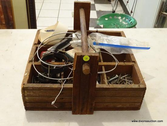TOOL CARRIER; WOODEN DIVIDED SECTION NAIL/SCREW/TOOL CARRIER WITH 9 SECTIONS. INCLUDES CONTENTS OF