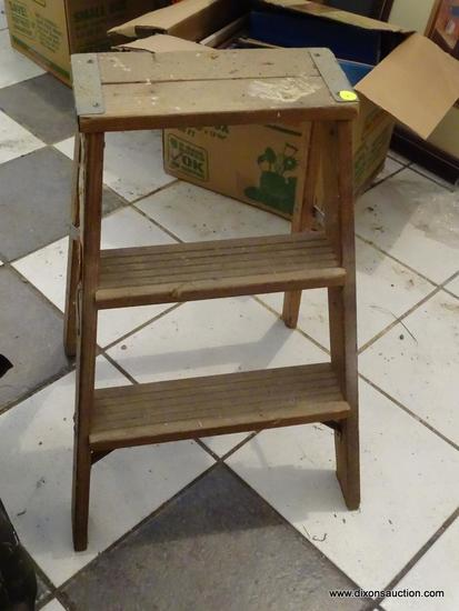 STEP LADDER; 3 FT WOODEN STEP LADDER. GREAT FOR REACHING CABINETS IN THE SHOP AND MORE!