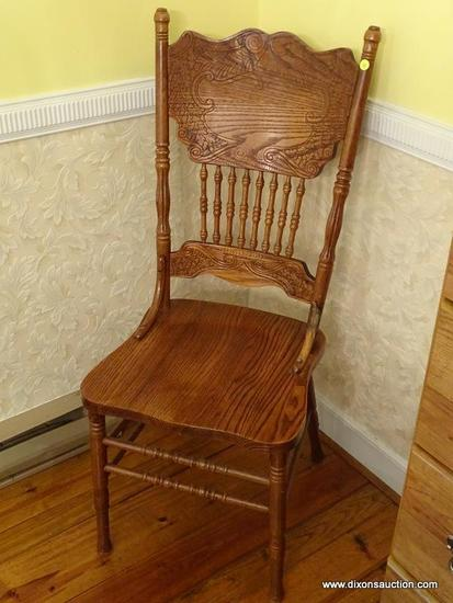 (DR) OAK PRESSED BACK CHAIR- STRONGSON OAK PRESSED BACK CHAIR- 18 IN X 17 IN X 44 IN