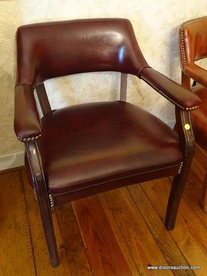 (DR) OFFICE CHAIR; HON OAK FAUX LEATHER ARMED OFFICE CHAIR WITH BRASS STUDS- 24 IN X 20 IN X 30 IN