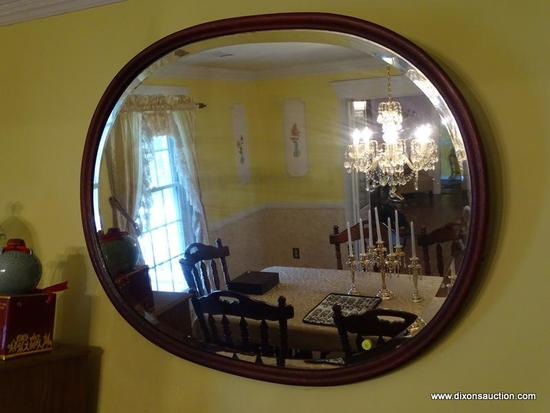 (DR) VINTAGE MIRROR; VINTAGE OVAL MAHOGANY BEVELED GLASS MIRROR- 40 IN X 32 IN