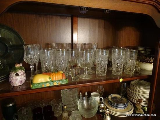 (DR) SHELF LOT; INCLUDES 6 RED WINE STEMS, 4 WATER GLASSES, 6 PINEAPPLE PATTERN GOLD RIMMED TEA