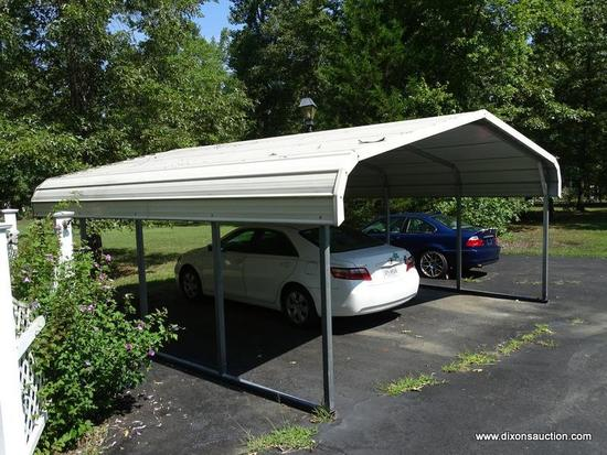 (OUT) CARPORT; ALUMINUM CARPORT THAT HOLDS UP TO 2 CARS. MEASURES APPROXIMATELY 18 FT X 20 FT 2 IN X