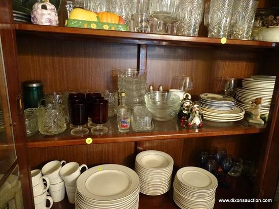 (DR) SHELF LOT; INCLUDES 6 RUBY RED CORDIALS, 4 POINSETTIA MUGS, SALAD BOWLS, 8 JOHNSON BROS