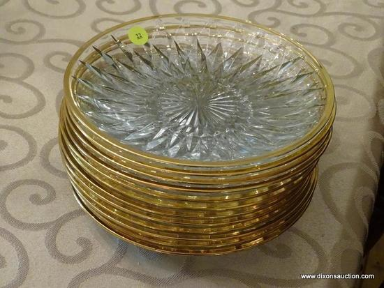 (DR) LOT OF GLASS PLATES; 12 GLASS AND GOLD RIMMED PLATES.