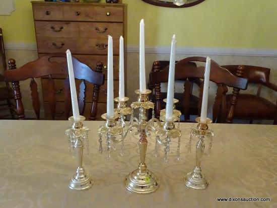 (DR) 3 PIECE CANDELABRA SET; INCLUDES A 4 ARMED CANDELABRA WITH PRISMS (11 IN X 16 IN), AND A PAIR