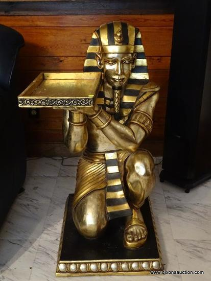 (FAM) EGYPTIAN FIGURAL TABLE; GOLD TONED AND BLACK PAINTED KNEELING EGYPTIAN FIGURAL BUTLERS TABLE