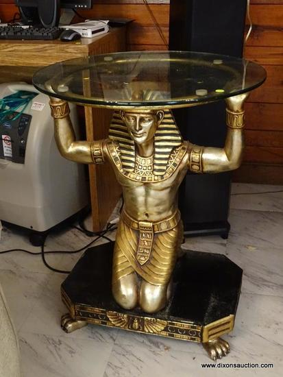 (FAM) EGYPTIAN FIGURAL TABLE; 1 OF A PAIR OF GOLD TONED AND BLACK PAINTED KNEELING EGYPTIAN FIGURAL
