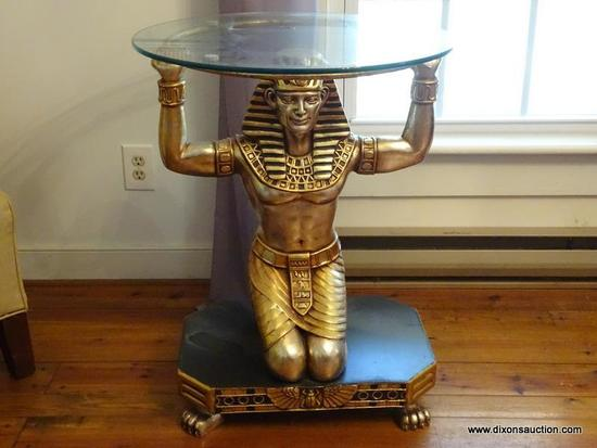 (LR) EGYPTIAN FIGURAL TABLE; 1 OF A PAIR OF GOLD TONED AND BLACK PAINTED KNEELING EGYPTIAN FIGURAL