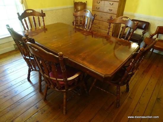 (DR) DINING TABLE AND CHAIRS; PINE EARLY AMERICAN DINING TABLE AND 6 CHAIRS. ( MATCHES 7) TABLE HAS