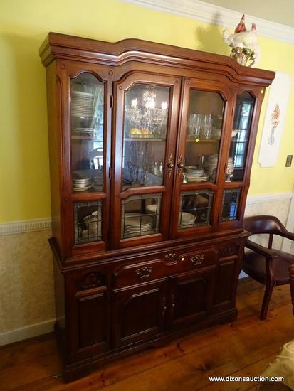 (DR) 2 PC CHINA; PINE 2 PC CHINA ( MATCHES 8) -2 GLASS PANED DOORS WITH 2 GLASS SIDE PANELS EACH
