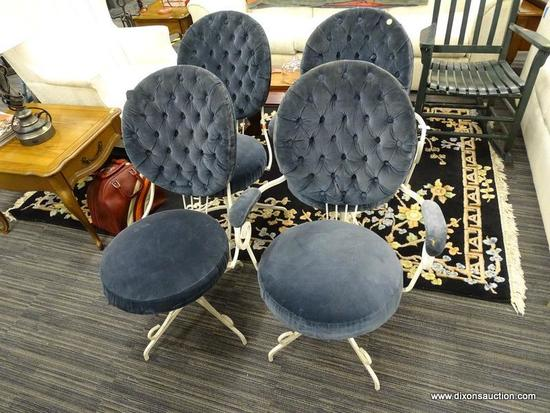 SET OF VINTAGE DINING CHAIRS; SET OF 4 CHAIR WITH ROUND BLUE UPHOLSTERED BUTTON TUFTED BACK, AND