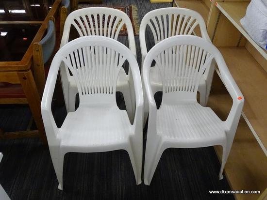 SET OF PATIO CHAIRS; SET OF 4 WHITE PLASTIC PATIO CHAIRS WITH FAN BACK PATTERN. EACH MEASURES 21.5