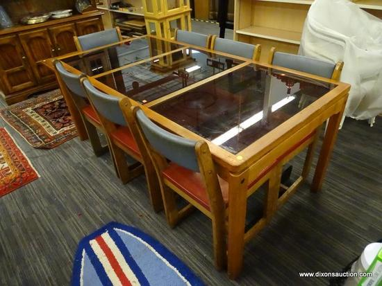 MID-CENTURY MODERN DINING SET; 8 PIECE SET TO INCLUDE A LONG MCM WOOD TABLE WITH 3 RECTANGULAR