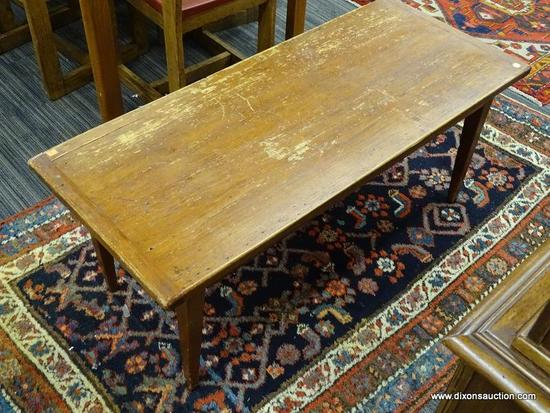 VINTAGE WOODEN COFFEE TABLE; SOLID WOOD PEG CONSTRUCTED RECTANGULAR COFFEE TABLE WITH TAPERED BLOCK