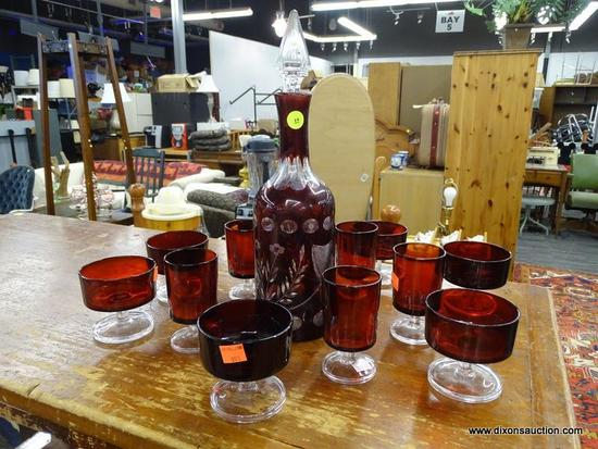 VINTAGE RUBY GLASS SET; 13 PIECE SET OF RUBY GLASSWARE TO INCLUDE A FLORAL ETCHED DECANTER WITH