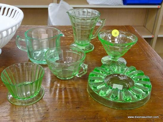 LOT OF ASSORTED URANIUM GLASS; 6 PIECE LOT OF VINTAGE URANIUM/VASELINE GLASS TO INCLUDE: A