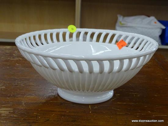 VINTAGE MILKGLASS BOWL; LARGE RETICULATED MILK GLASS FRUIT BOWL WITH HOBNAIL PATTERN AROUND THE