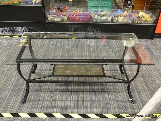 GLASS TOP COFFEE TABLE; SQUARE BEVELED GLASS TOP SITTING ON A BLACK METAL BASE WITH A MARBLED-LOOK
