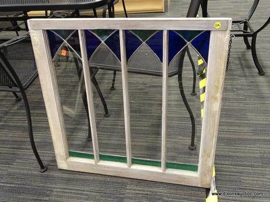 VINTAGE STAINED GLASS WINDOW; BEAUTIFUL VINTAGE WHITEWASHED WINDOW WITH 4 RECTANGULAR PANELS. EACH