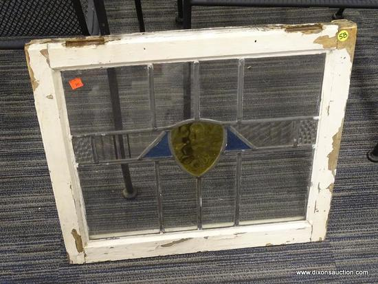 VINTAGE STAINED GLASS WINDOW; BEAUTIFUL VINTAGE WHITE PAINTED CHIPPY WINDOW WITH YELLOW SHIELD