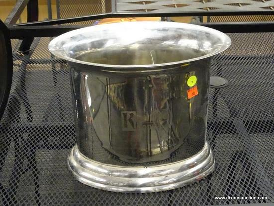 KETEL ONE ICE BUCKET; SILVER TONE OVAL SHAPED ICE BUCKET WITH DIVIDER INSIDE. BOTH SIDES HAVE THE