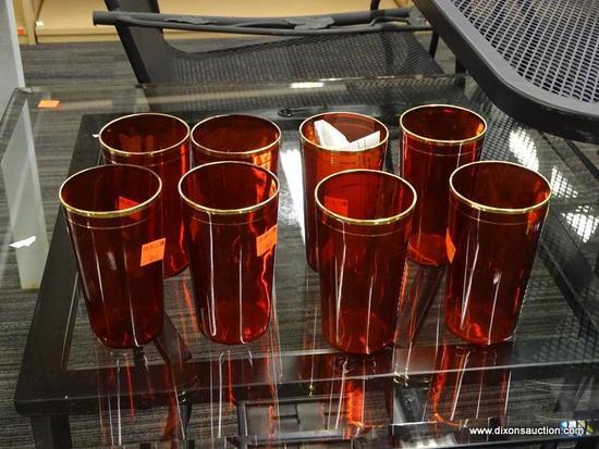 SET OF VINTAGE PIGEON BLOOD GLASSES; SET OF 8 VINTAGE PIGEON BLOOD GLASSES WITH GOLD TRIM. THESE