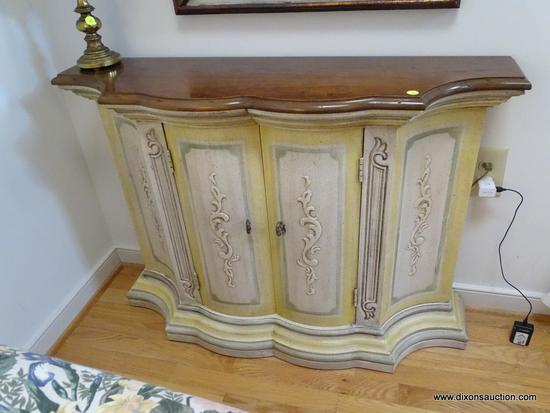 (LR) CREDENZA; CHERRY AND PAINTED BASE SERPENTINE FRONT CREDENZA- EXCELLENT CONDITION- 38 IN X 12 IN