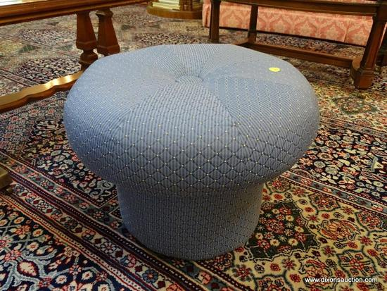 (LR) OTTOMAN; ROUND BLUE UPHOLSTERED OTTOMAN- 18IN DIA X 13 IN H