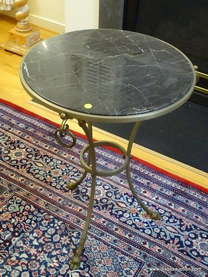 (LR) TABLE; METAL AND MARBLE TOP TABLE WITH HOOF FEET- 18 IN DIA. X 28.5 IN