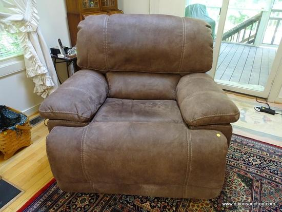 (LR) ELECTRIC RECLINER; FAUX SUEDE ELECTRIC RECLINER 45 IN X 34 IN X 40 IN