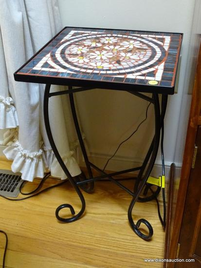 (LR) TABLE; METAL AND TILE TOP FERN TABLE- NICE MOSAIC TOP IN FLOWERS- 14IN X 14IN X 23 IN