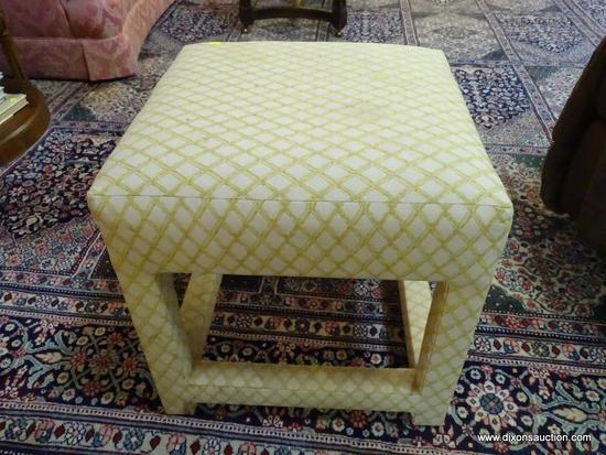 (LR) OTTOMAN; UPHOLSTERED 4 LEG OTTOMAN IN CREAM AND GOLD- 18 IN X 18 IN X 18 IN