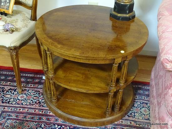 (LR) END TABLE- OVAL WALNUT END TABLE WITH BANDED INLAID TOP COLUMNED SUPPORTS AND 2 SHELVES- 29 IN