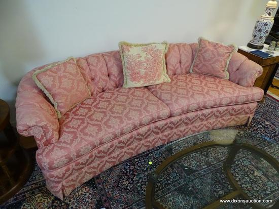 (LR) SOFA; PINK AND FLORAL DAMASK UPHOLSTERED SOFA INCLUDING PILLOWS- VERY GOOD CONDITION- 1 MINOR