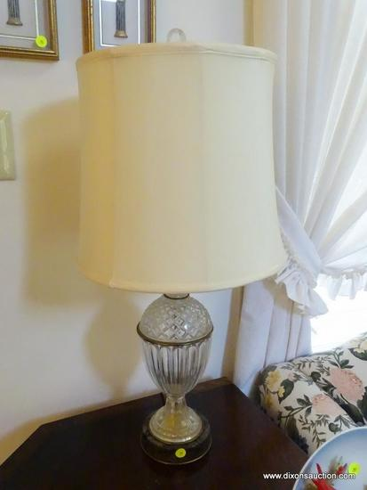 (LR) LAMP; MARBLE BASE AND CRYSTAL LAMP WITH SHADE AND FINIAL- 29 IN H
