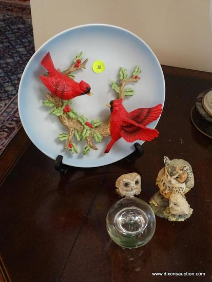 (LR) MISC. LOT; LOT IN INCLUDES CARDINAL COLLECTOR PLATE, 2 COMPOSITION OWL FIGURINES ( LARGEST- 4