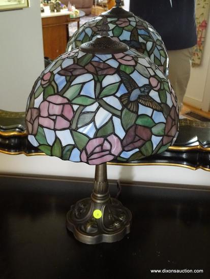 (FOYER) TIFFANY STYLE LAMP; TIFFANY STYLE LAMP WITH BRONZE BASE STAINED GLASS WITH HUMMINGBIRDS- 19