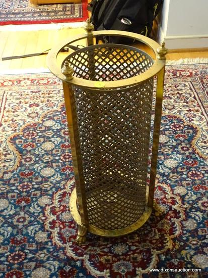 (FOYER) UMBRELLA STAND AND BASKET; BRASS UMBRELLA STAND WITH LIONS PAW FEET- 21 IN H AND RED BASKET