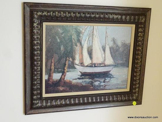 (FOYER) PICTURE; PRINT ON BOARD BY BOLO OF SAILBOAT IN BRONZE TONED FRAME- 22.5 IN X 18 IN