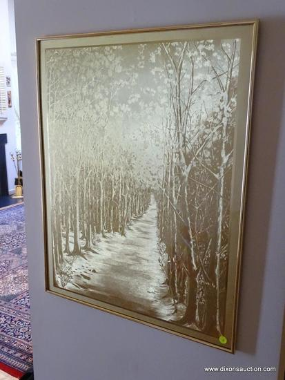 (FOYER) PICTURE: GOLD FOILED ART OF LANDSCAPE IN GOLD FRAME- 24 IN X 30 IN