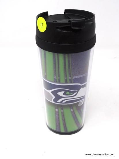 SEATTLE SEAHAWKS TRAVEL CUP; SEATTLE SEAHAWKS BLACK PLASTIC HOT OR COLD TRAVEL CUP. BRAND NEW.